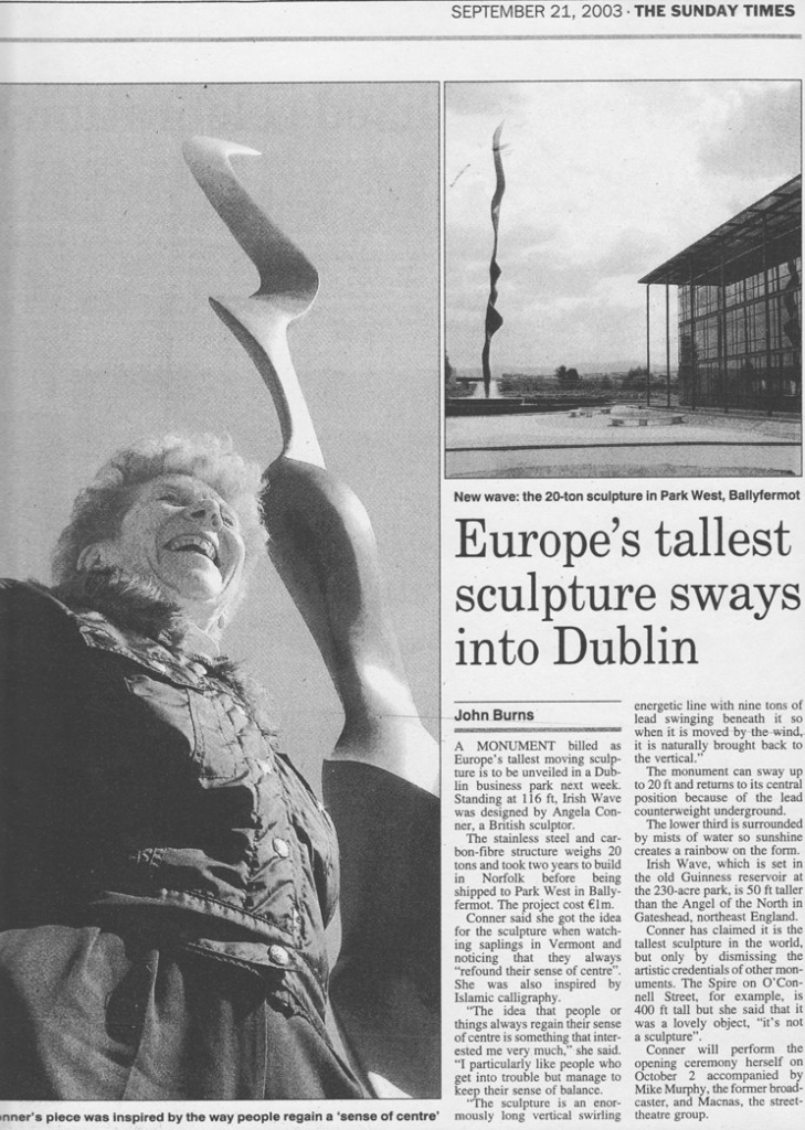 The Sunday Times Sept 21st 2003 Europe's tallest sculpture - WAVE